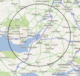 map showing diesel bug removal and fuel tank cleaning area of operation including the midlands and south west of england